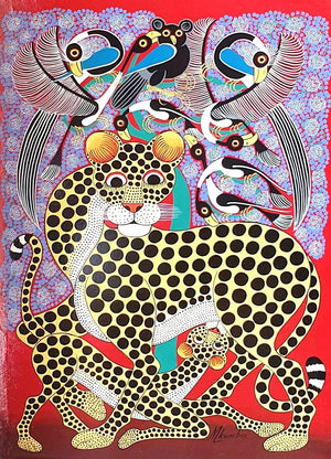 african art of two leopards