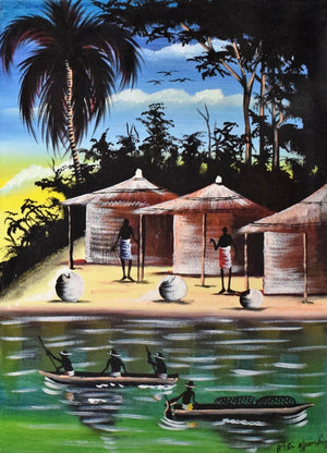 African art of huts and people for sale