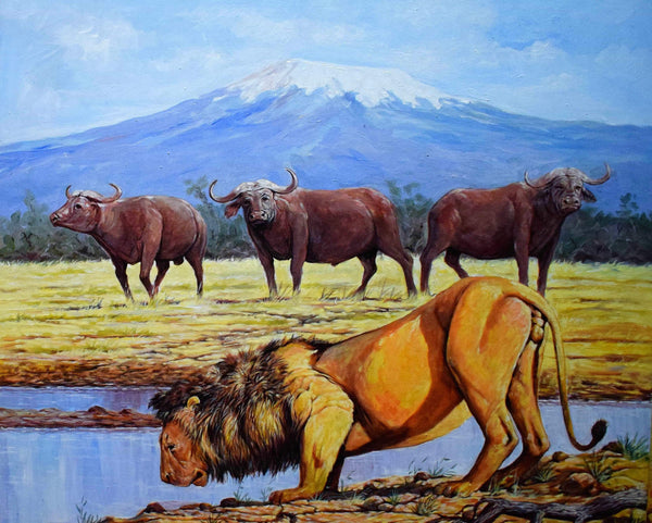 african painting of a lion near a lake