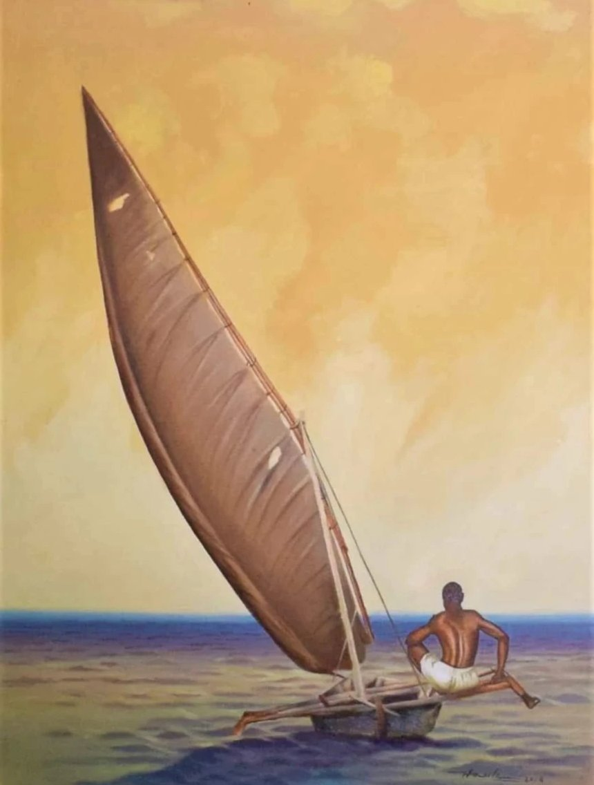 African painting of a yacht sailing