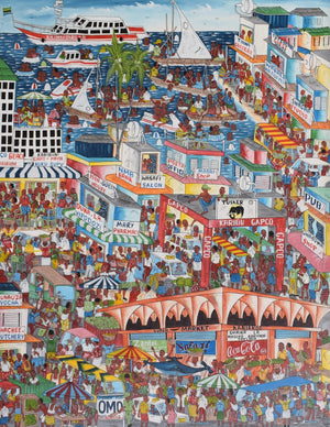 African painting of the city center