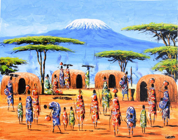african painting of villages