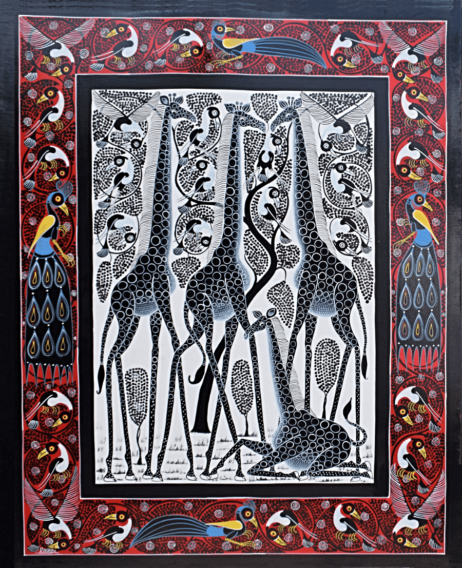 African  art of giraffes and other animals