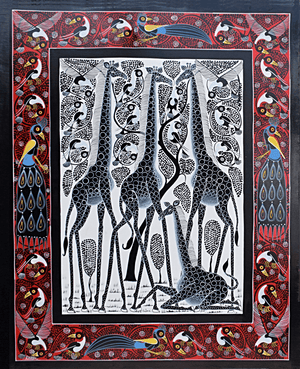 african wall art of giraffes and other animals