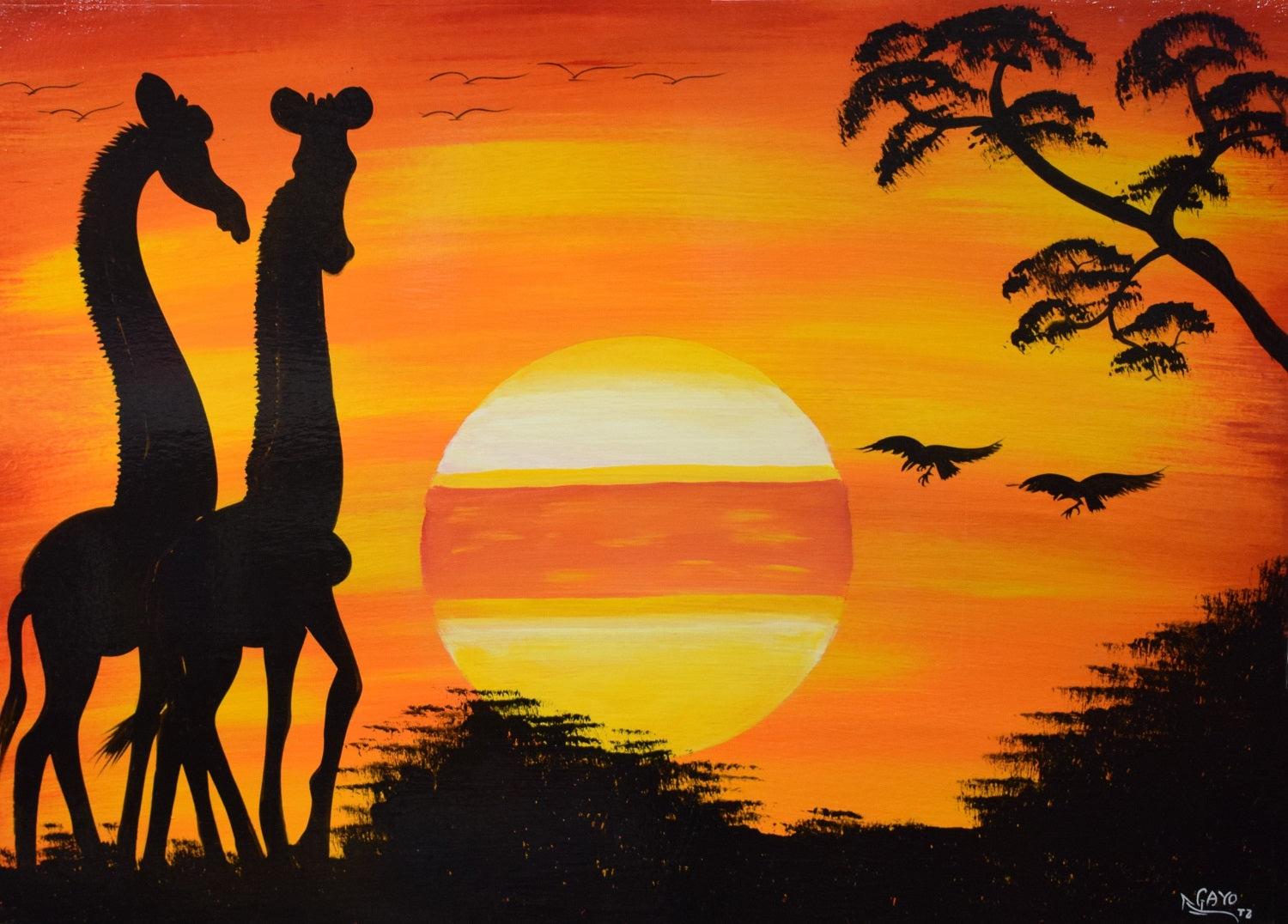 African painting of two giraffes