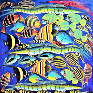 african painting and wall art of fishes