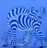 blue african painting of zebras