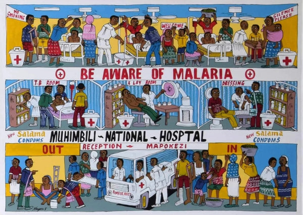 african wall art of hospital in tanzania
