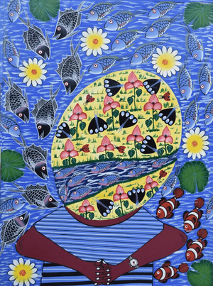 african painting of flowers and people for sale