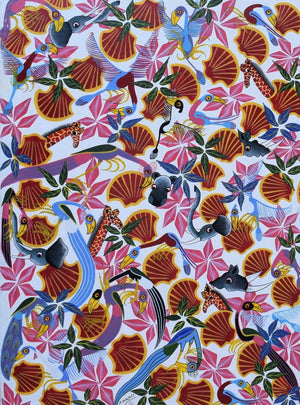 african painting of flowers for sale