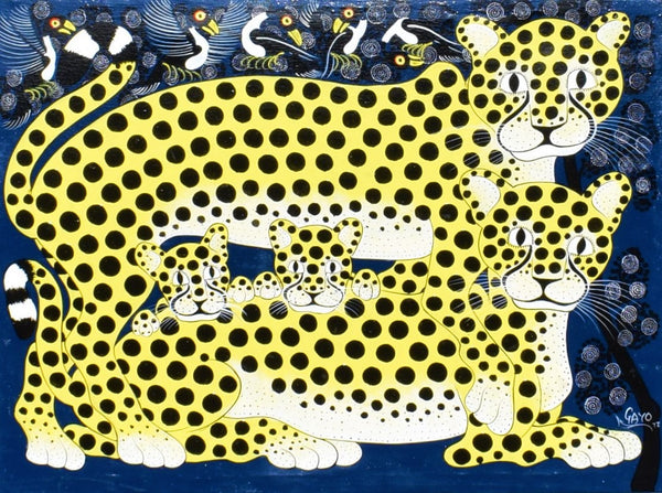african painting of yellow leopards