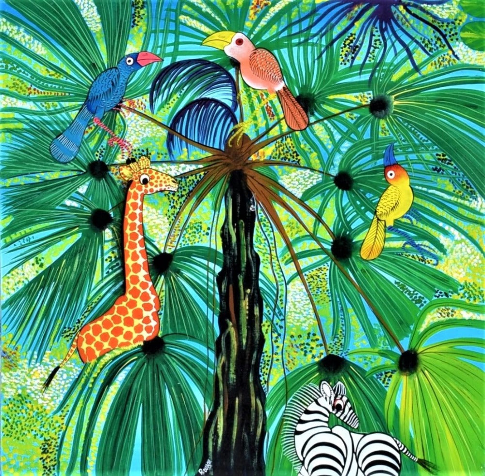 African art of trees and animals