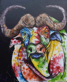 Tinga Tinga African Wall Art of a buffalo