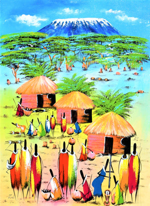 african painting of a village and people