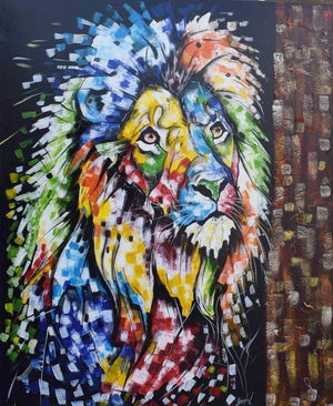 African painting of a lion for sale