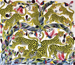 African painting of a leopard