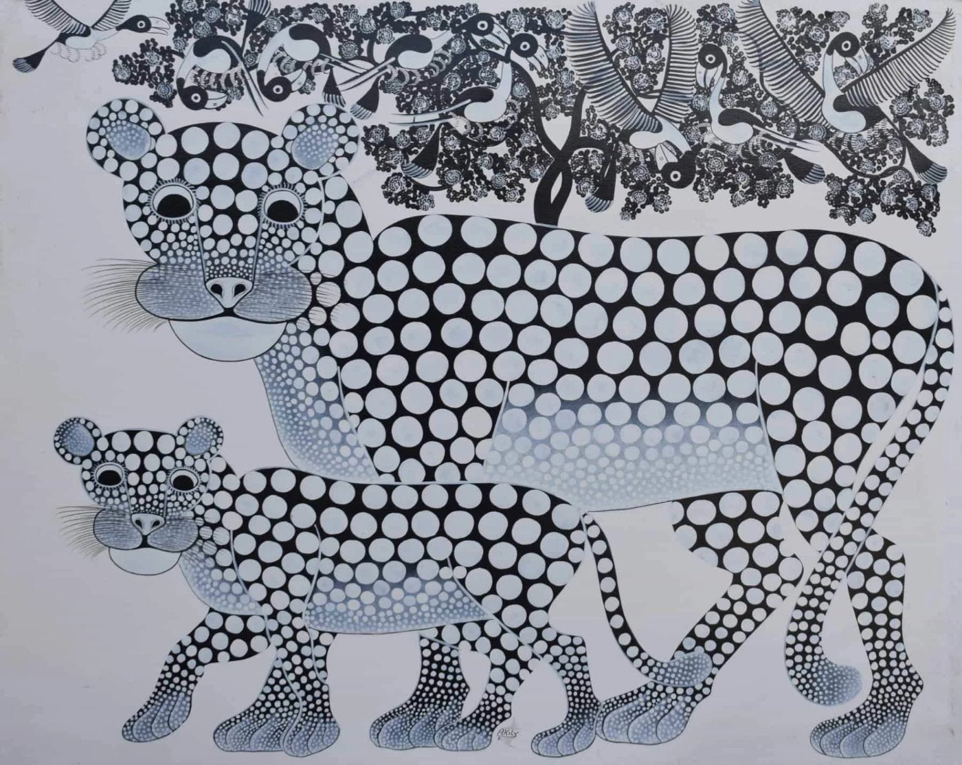 African painting of two leopards