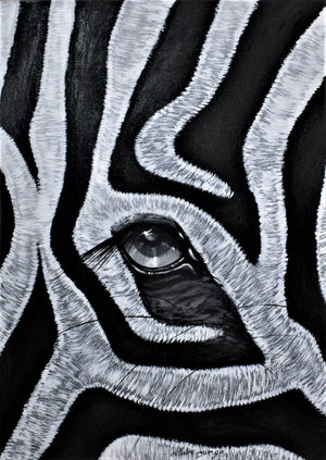 african art of  a zebra's eye