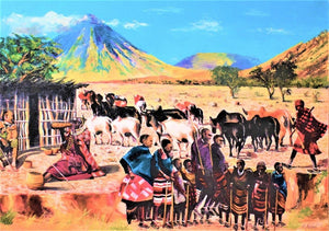 african art of maasai herding cattle for sale