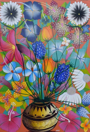 african painting of flowers