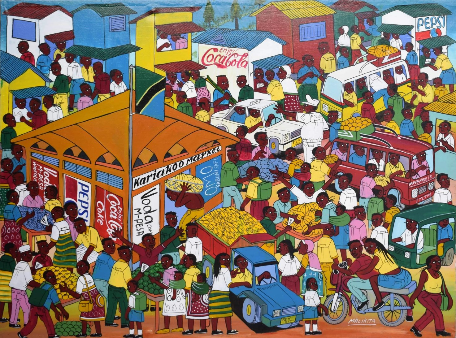 African painting of busy streets