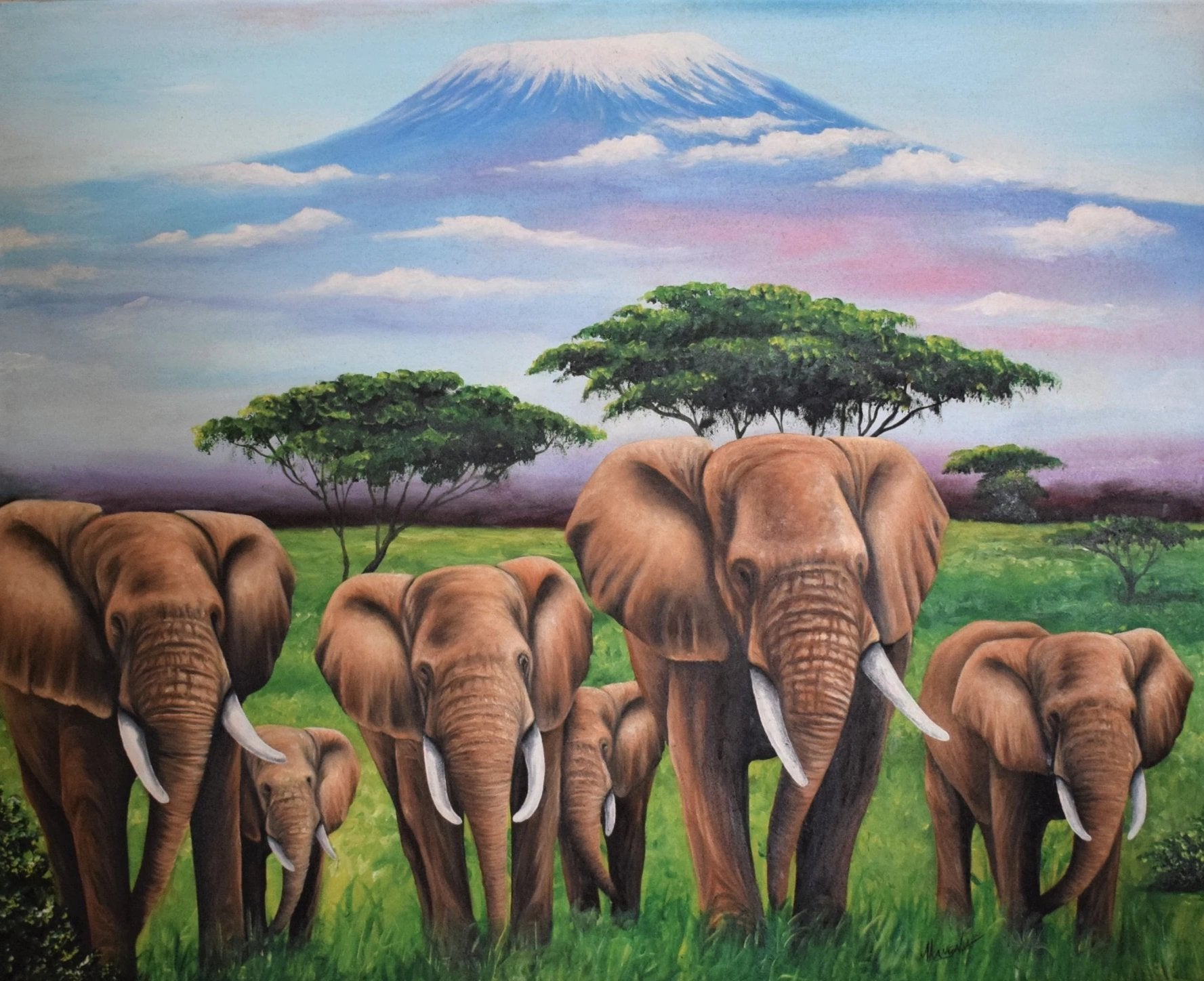 African painting of elephants for sale