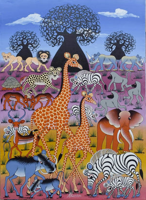 African painting of giraffes and animals for sale