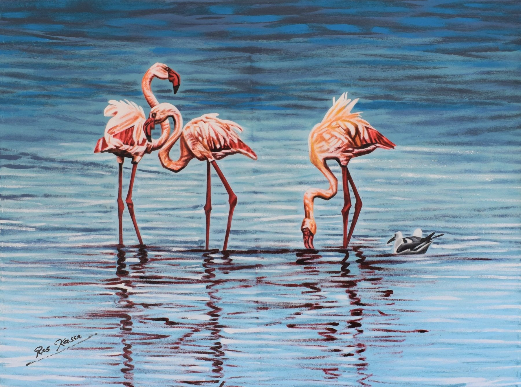 African paintings of flamingos