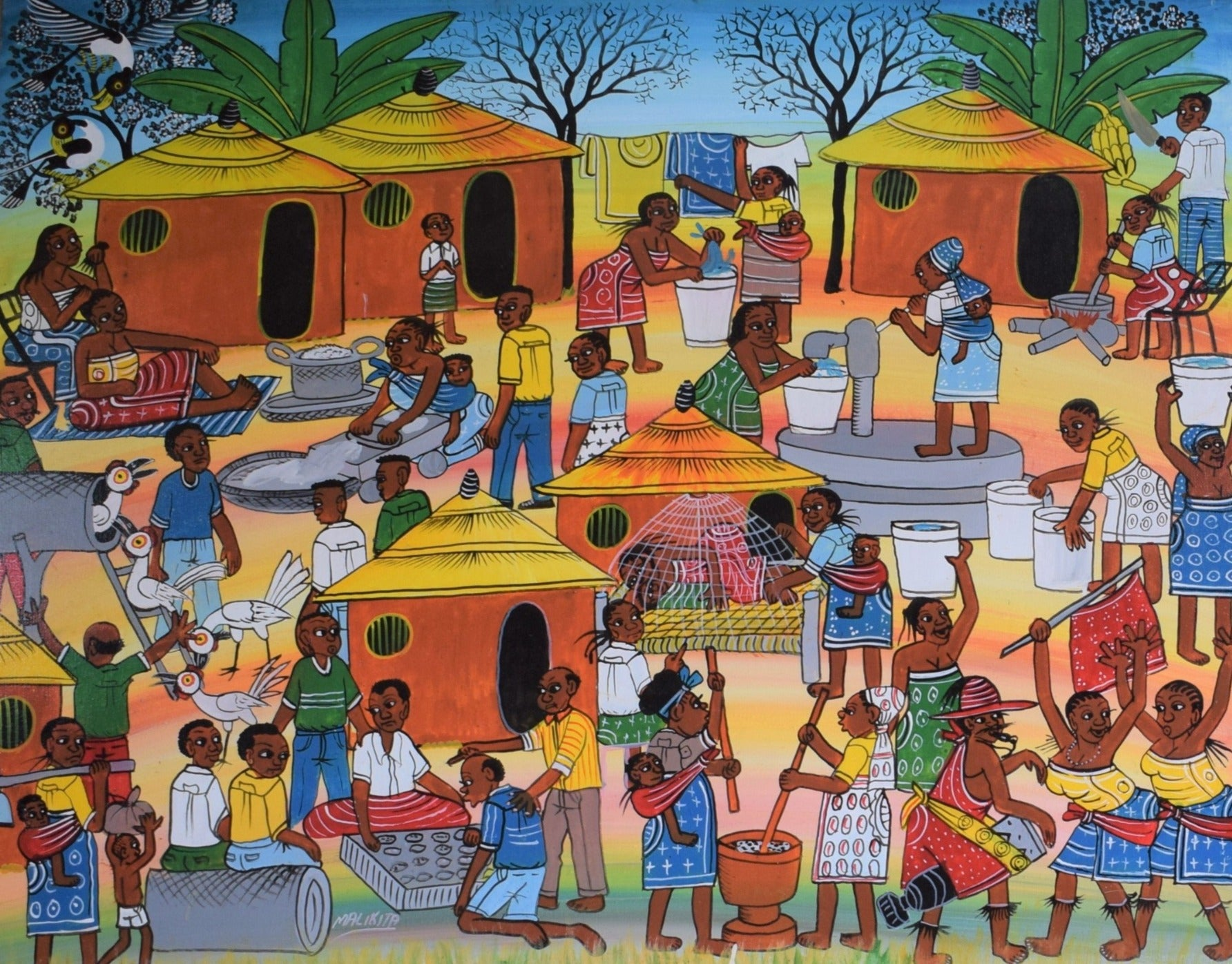 African art of villages for sale
