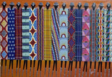 african wall art of maasai people standing