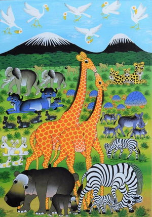 african painting of giraffes for sale