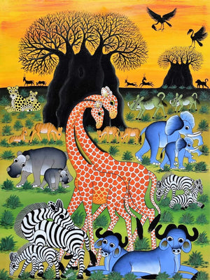 African painting of animals in the Serengeti
