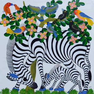 african art of animals for sale of zebra and baby