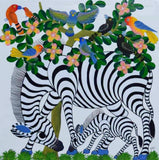 Tinga Tinga African Wall Art of zebra and baby
