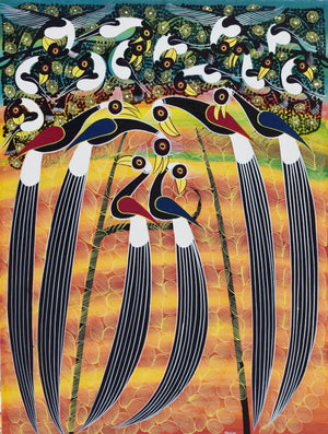 african painting of trees