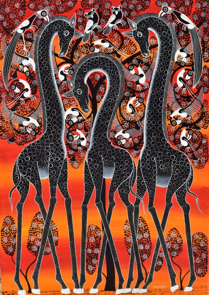 African painting of three giraffes for sale