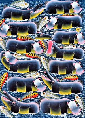 african wall art of hippos