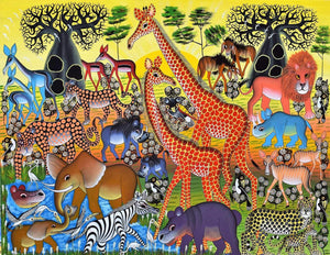 african painting of giraffes and animals in the serengeti