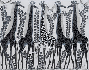 african wall art of giraffe