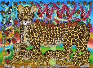 african painting of tiger and cubs
