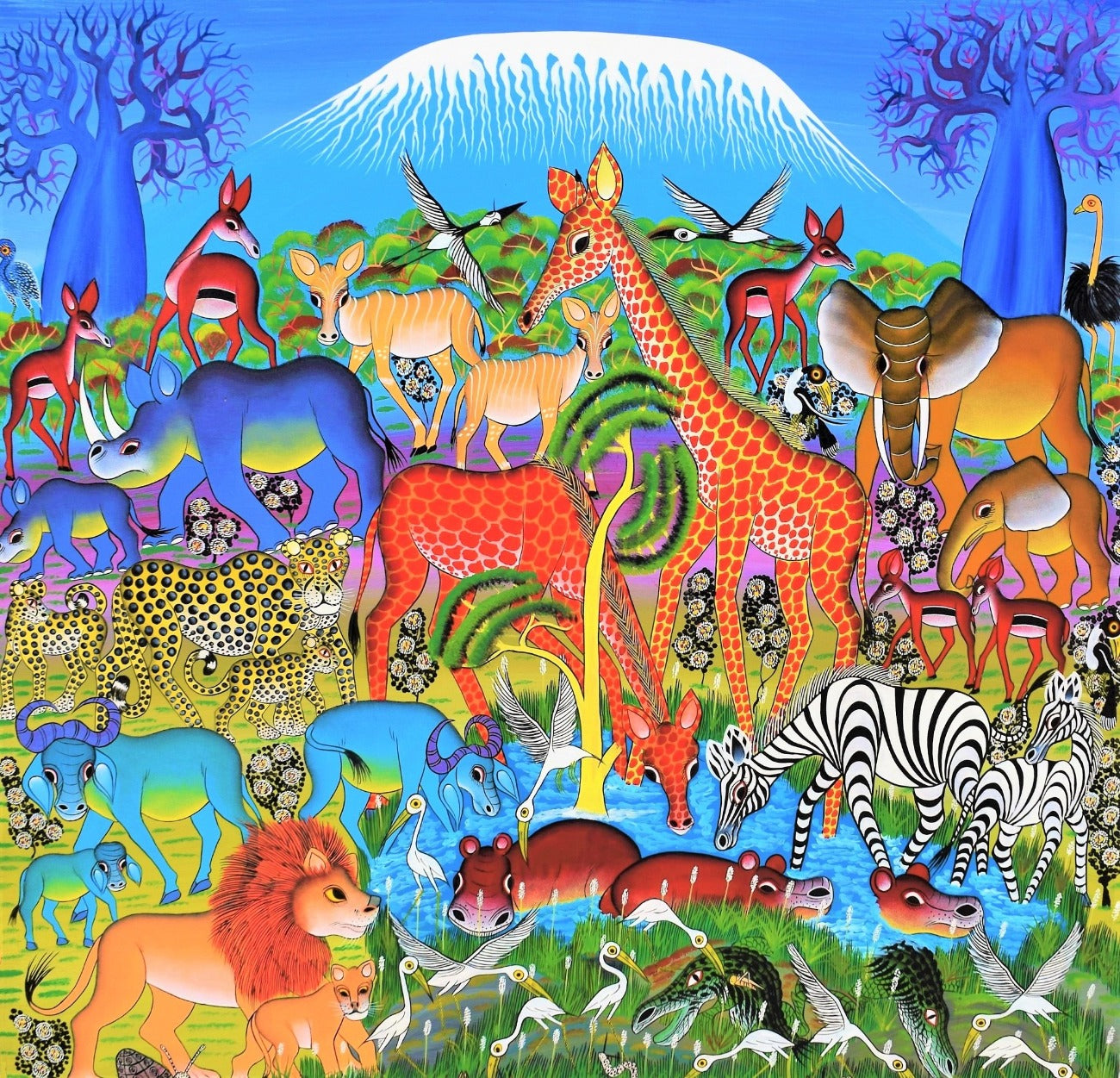 african art of animals near the kilimanjaro
