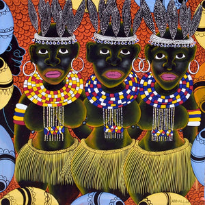 african painting of three women
