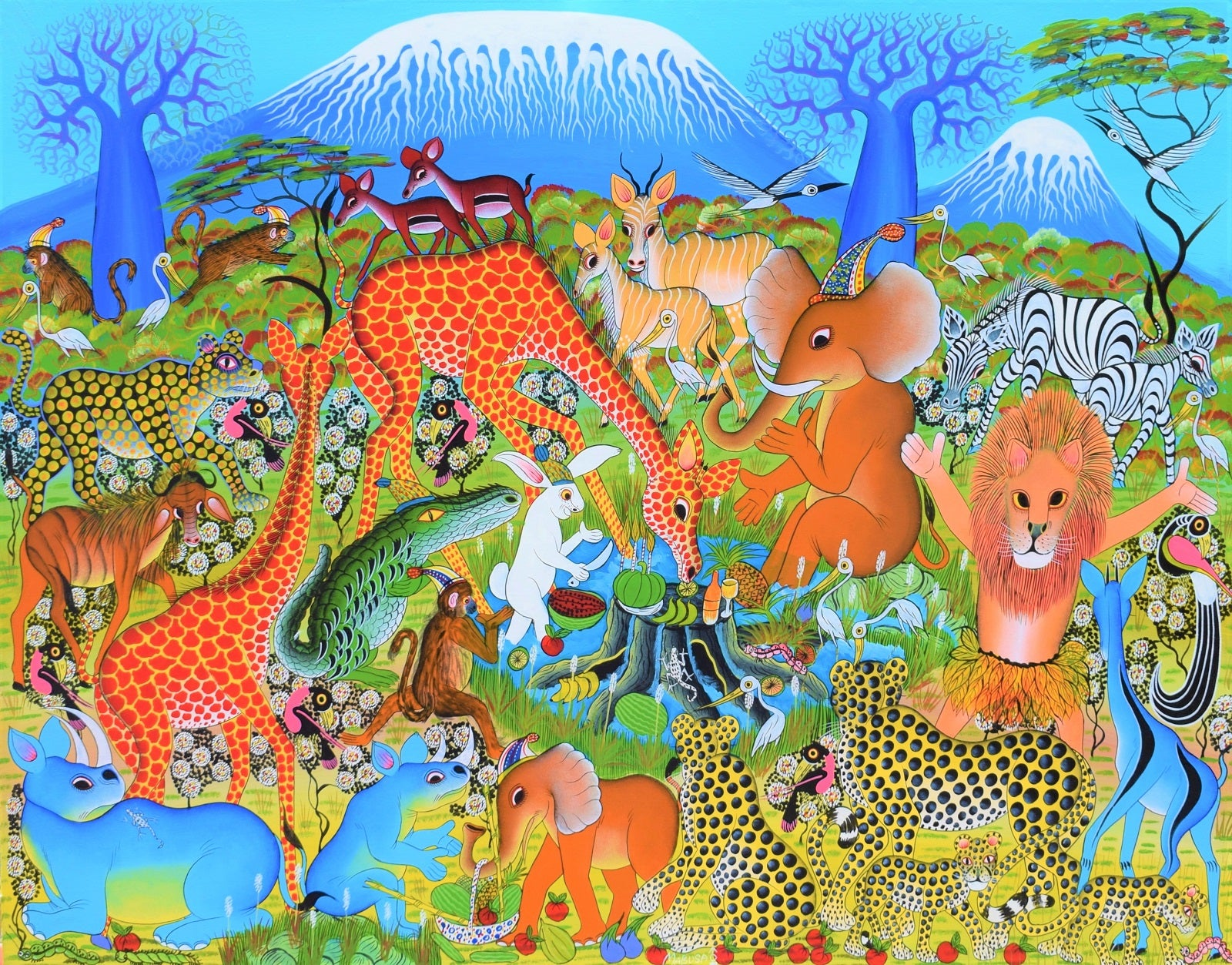 african painting of animals in the serengeti for sale