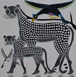 african painting of a tiger