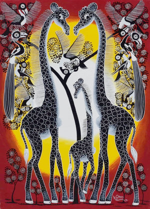 Tinga Tinga African Wall Art from Dar es Salaam of a giraffe