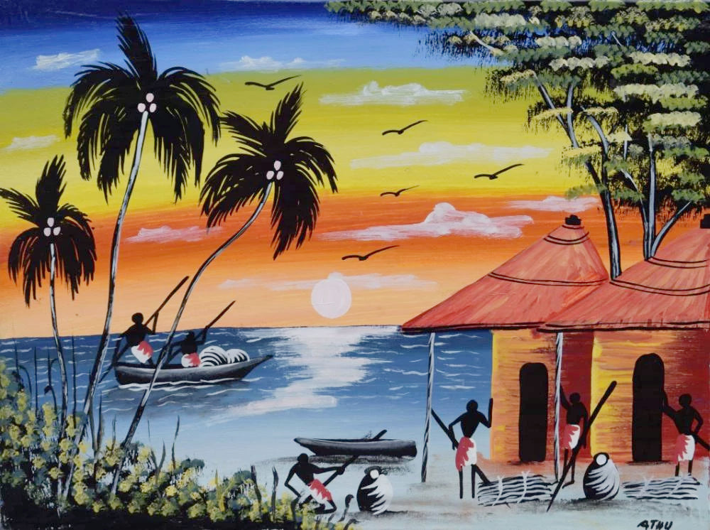 Tinga Tinga African  Art of an island for sale