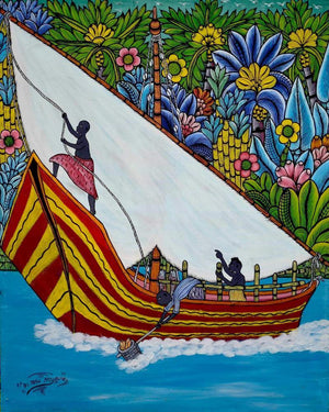 African wall art of a yacht for sale