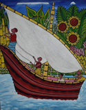 african wall art of boats