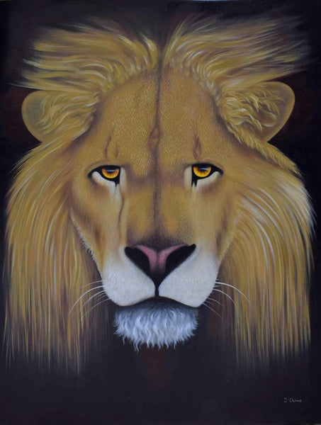 african art of a lion's face