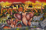 A handmade African painting of a animals in the Serengeti performing a parade across the parks